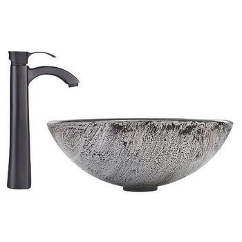 Titanium Glass Vessel Sink Set Otis Faucet Set