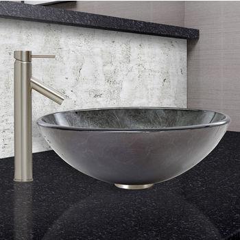 Gray Onyx Vessel Sink Set