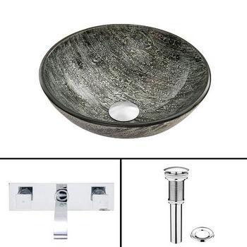 Titanium Glass Vessel Sink Set Titus Wall Mount Faucet Set