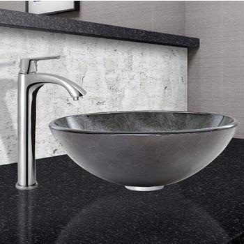 Gray Onyx Glass Vessel Sink Set Linus Faucet set