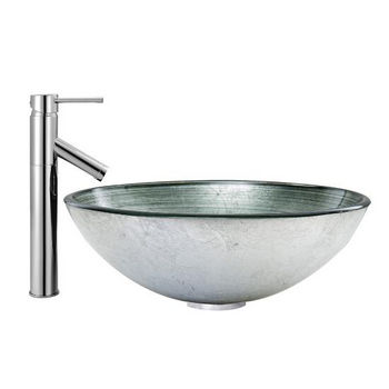 Simply Silver Glass Vessel Sink Set Dior Faucet Set
