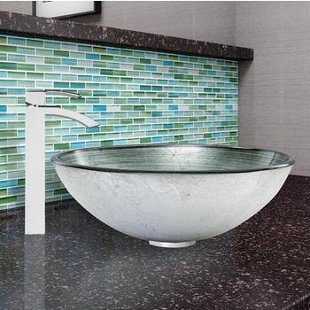 Simply Silver Glass Vessel Sink Set Duris Faucet Set