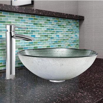 Simply Silver Glass Vessel Sink Set Shadow Faucet Set