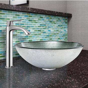 Simply Silver Glass Vessel Sink Set Linus Faucet Set