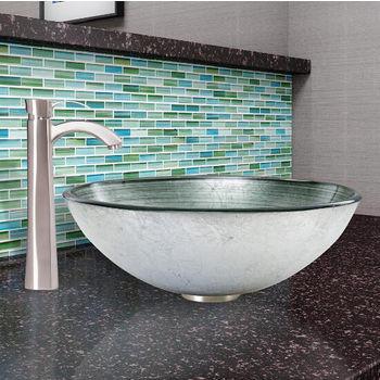 Simply Silver Glass Vessel Sink Set Otis Faucet Set