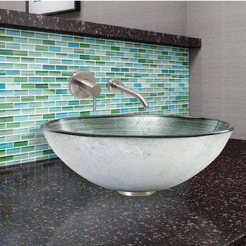 Simply Silver Glass Vessel Sink Set Olus Wall Mount Faucet Set