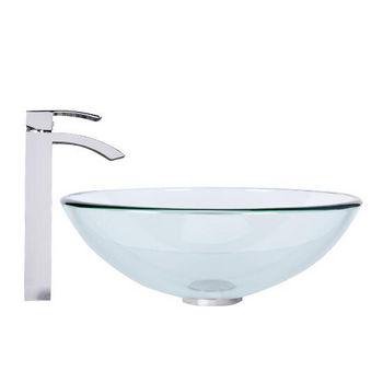 Crystalline Glass Vessel Sink Set Duris Vessel Faucet Set