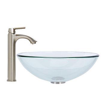 Crystalline Glass Vessel Sink Set Linus Vessel Faucet Set