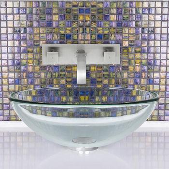 Crystalline Glass Vessel Sink Set Titus Wall Mount Faucet Set
