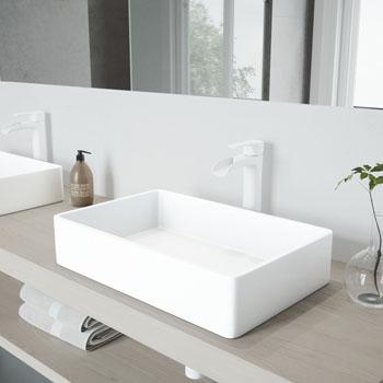 VGT988 Sink Set w/ Niko Faucet Matte White