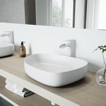 VGT991 Sink Set w/ Niko Faucet Matte White