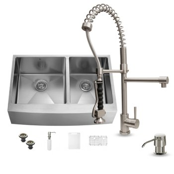 Kitchen Sink and Faucet Sets - Stainless Steel and Glass Vessel ...