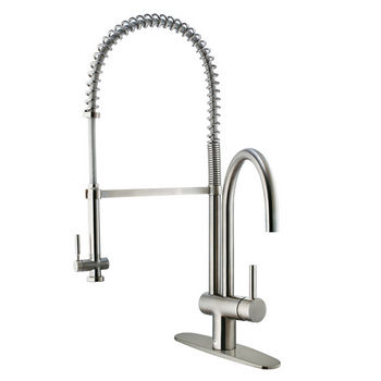 "Vigo Stainless Steel Pull-Down Spray Kitchen Faucet with Swivel Spout & Deck Plate, 28""H"
