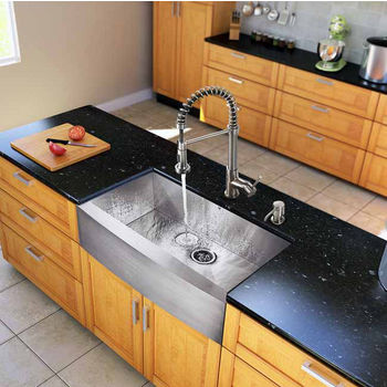 """Vigo All in One 36"""" Farmhouse Stainless Steel Kitchen Sink and Faucet Set, VIG-VG15139"""