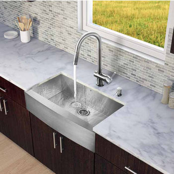 """Vigo All in One 36"""" Farmhouse Stainless Steel Kitchen Sink and Faucet Set, VIG-VG15142"""