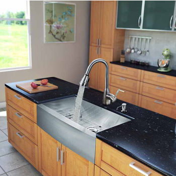 "Vigo All in One 36"" Farmhouse Stainless Steel Kitchen Sink and Faucet Set, VIG-VG15145"