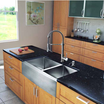 "Vigo All in One 33"" Farmhouse Stainless Steel Double Bowl Kitchen Sink and Chrome Faucet Set, VIG-VG15208"
