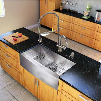 "Vigo All in One 30"" Farmhouse Stainless Steel Kitchen Sink and Faucet Set, VIG-VG15238"
