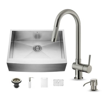 Kitchen Sink And Faucet Sets Stainless Steel And Glass Vessel