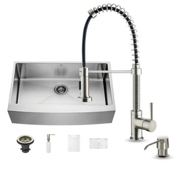 vigo all in one 36 farmhouse stainless steel kitchen sink and faucet set vig vg15255 - Kitchen Sink And Faucet Sets