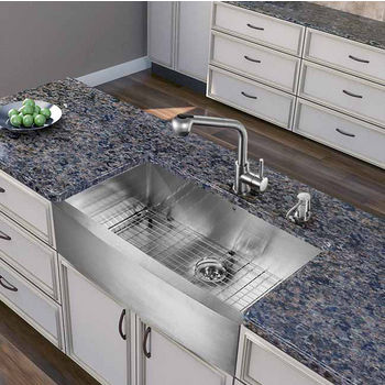 """Vigo All in One 36"""" Farmhouse Stainless Steel Kitchen Sink and Faucet Set, VIG-VG15262"""
