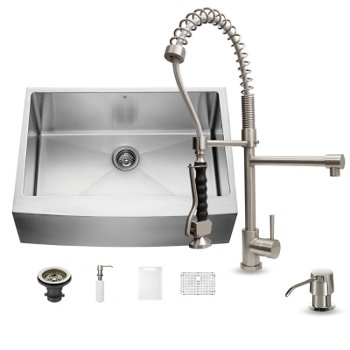 vigo 30 all in one farmhouse stainless steel kitchen sink w curved corners and faucet set vig vg15275 - Kitchen Sink And Faucet Sets