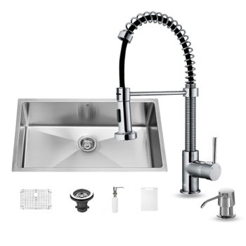 "Vigo 32"" W Undermount Stainless Steel Kitchen Sink, 18-3/4"" H Faucet and Chrome Dispenser"