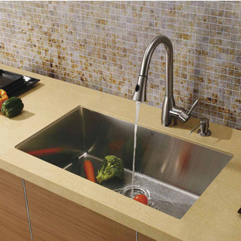 "Vigo 32"" W Undermount Stainless Steel Kitchen Sink, 16"" H Faucet (8-1/2"" Spout Reach) and Dispenser"