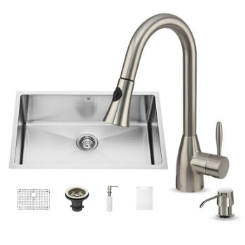 "Vigo 30"" W Undermount Stainless Steel Kitchen Sink, 16"" H Faucet (8 1/2"" Spout Reach) and Dispenser"