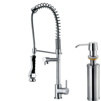 Vigo Pull-Down Spray Kitchen Faucet with Soap Dispenser, Chrome Finish