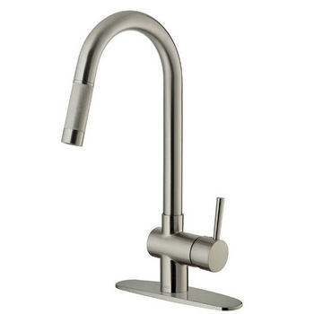 Vigo Pull-Out Spray Kitchen Faucet with Deck Plate, Stainless Steel Finish