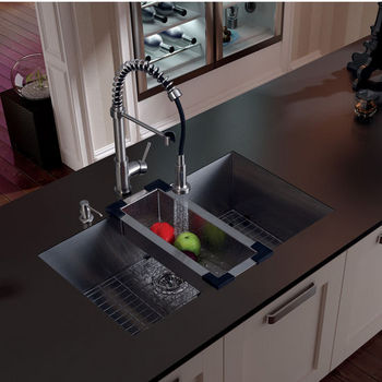 Undermount Kitchen Sinks And Faucets kitchen sink and faucet sets - stainless steel and glass vessel