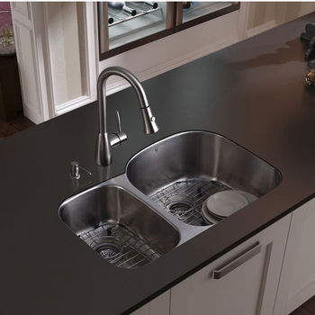 """Vigo Undermount Kitchen Sink with Small Bowl on Left, 15-3/4""""H Faucet, Two Grids, Two Strainers and Dispenser, Stainless Steel Finish"""