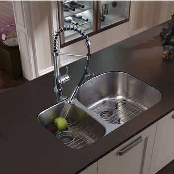 "Vigo Undermount Kitchen Sink, 18-3/4""H Faucet, Two Grids, Two Strainers and Dispenser, Stainless Steel Finish"