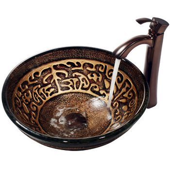 Vigo Golden Greek Vessel Sink and Bronze Faucet, Oil Rubbed Bronze Finish