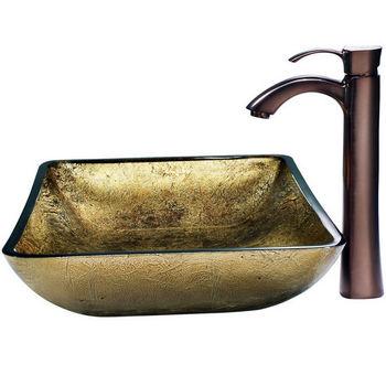 Vigo Rectangular Copper Vessel Sink and Bronze Faucet, Oil Rubbed Bronze Finish