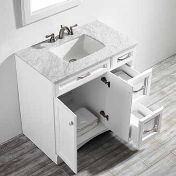 White - With Mirror - Top View Drawers Open
