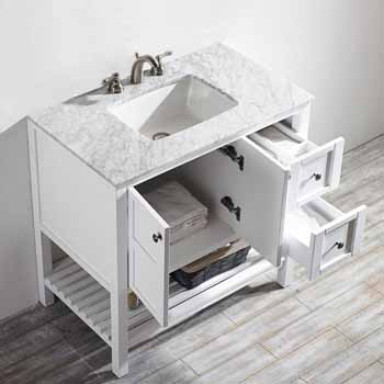 White - No Mirror - Top View Drawers Open