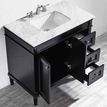 Espresso - With Mirror - Top View Drawers Open