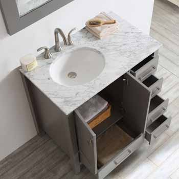 Grey - With Mirror - Top View Drawers Open