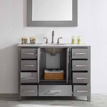 Grey - With Mirror - Drawers Open