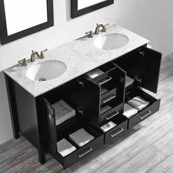 60'' Espresso - With Mirror - Top View Drawers Open