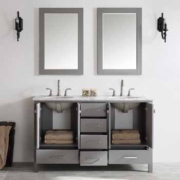 60'' Grey - With Mirror - Lifestyle View 3 - Drawers Open