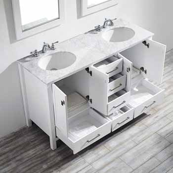60'' White - With Mirror - Top View Drawers Open