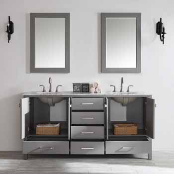 72'' Grey - With Mirror - Drawers Open