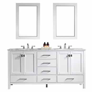 72'' White - With Mirror - Display View 1