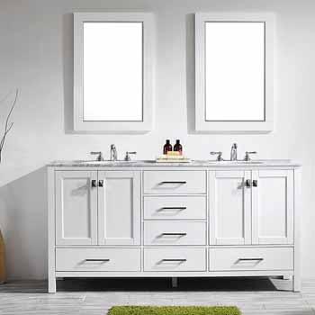 72'' White - With Mirror - Lifestyle View