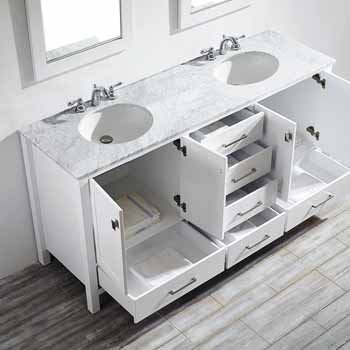 72'' White - With Mirror - Top View Drawers Open