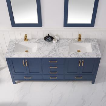 Vinnova Bathroom Vanity 72'' Lifestyle View Front Blue