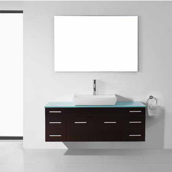 Virtu Usa Biagio 56 Wall Mounted Bathroom Vanity Set In Espresso Aqua Tempered Gl Top With Vessel Sink Faucet